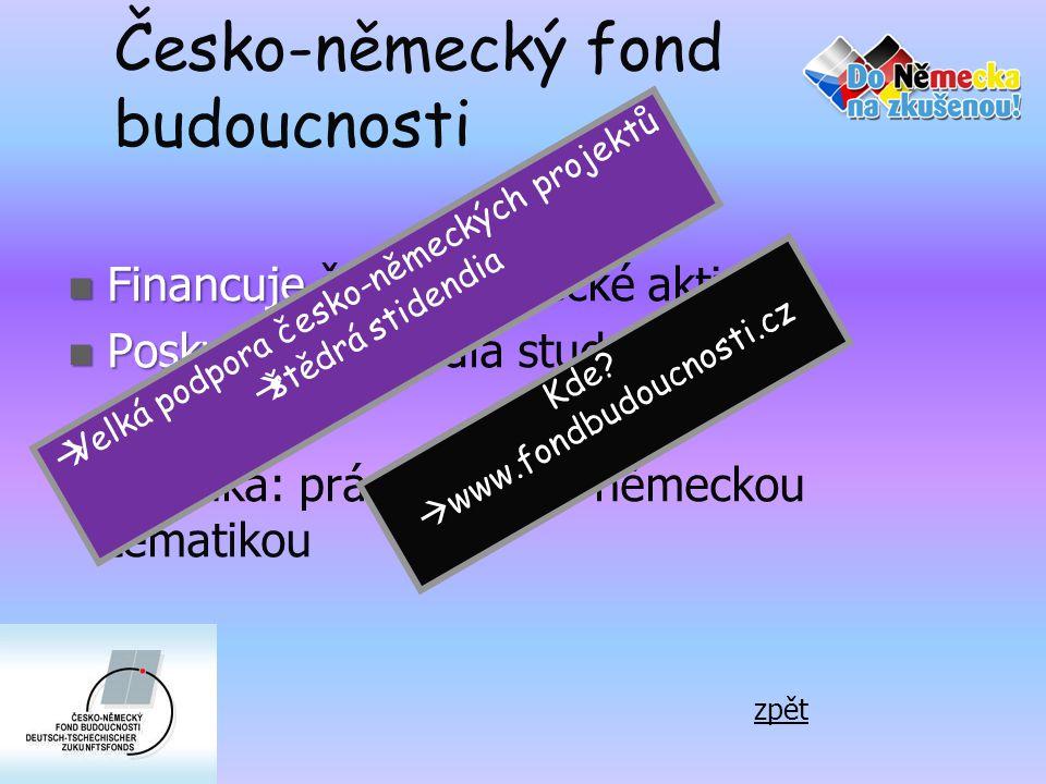 Česko-německý fond budoucnosti  Financuje  Financuje česko-německé aktivity  Poskytuj  Poskytuje stipendia studentům Podmínka: práce s česko-německou tematikou  Velká podpora česko-německých projektů  štědrá stidendia Kde.