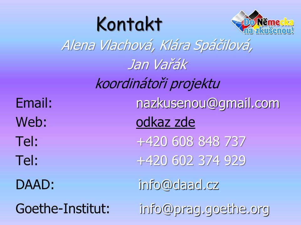 Kontakt Alena Vlachová, Klára Spáčilová, Jan Vařák koordinátoři projektu nazkusenou@gmail.com Email: nazkusenou@gmail.com Web:odkaz zdeodkaz zde +420 608 848 737 Tel: +420 608 848 737 +420 602 374 929 Tel: +420 602 374 929 info@daad.cz DAAD: info@daad.cz info@prag.goethe.org Goethe-Institut: info@prag.goethe.org