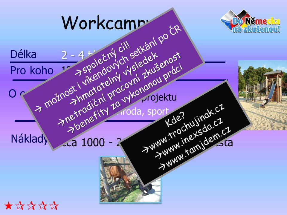 Workcampy 2 - 4 týdny 18 a více let (od 16 v ČR) Společná práce na projektu Kultura, příroda, sport, sociální práce cca 1000 - 2000 Kč poplatek, cesta Délka Pro koho Náklady O co jde.