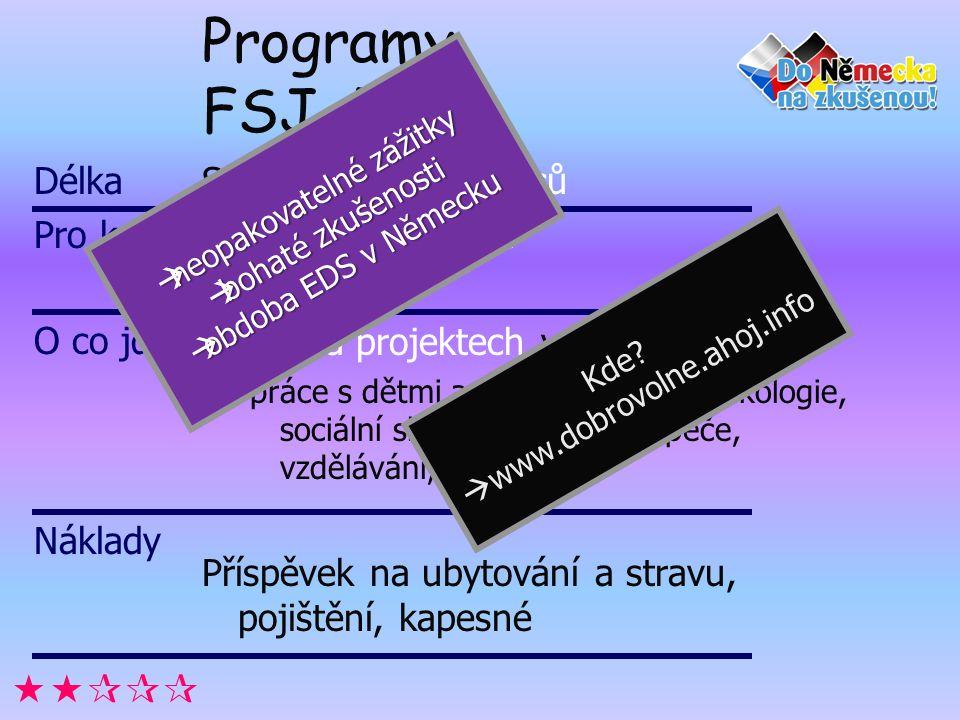 Programy FSJ, FÖJ… Standardně 12 měsíců Mladí lidé do 27 let Práce na projektech v oblastech: práce s dětmi a mládeží, kultura, ekologie, sociální slu