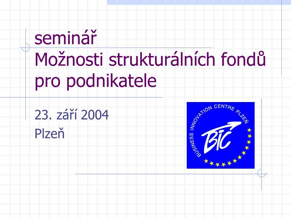 seminář Možnosti strukturálních fondů pro podnikatele 23. září 2004 Plzeň