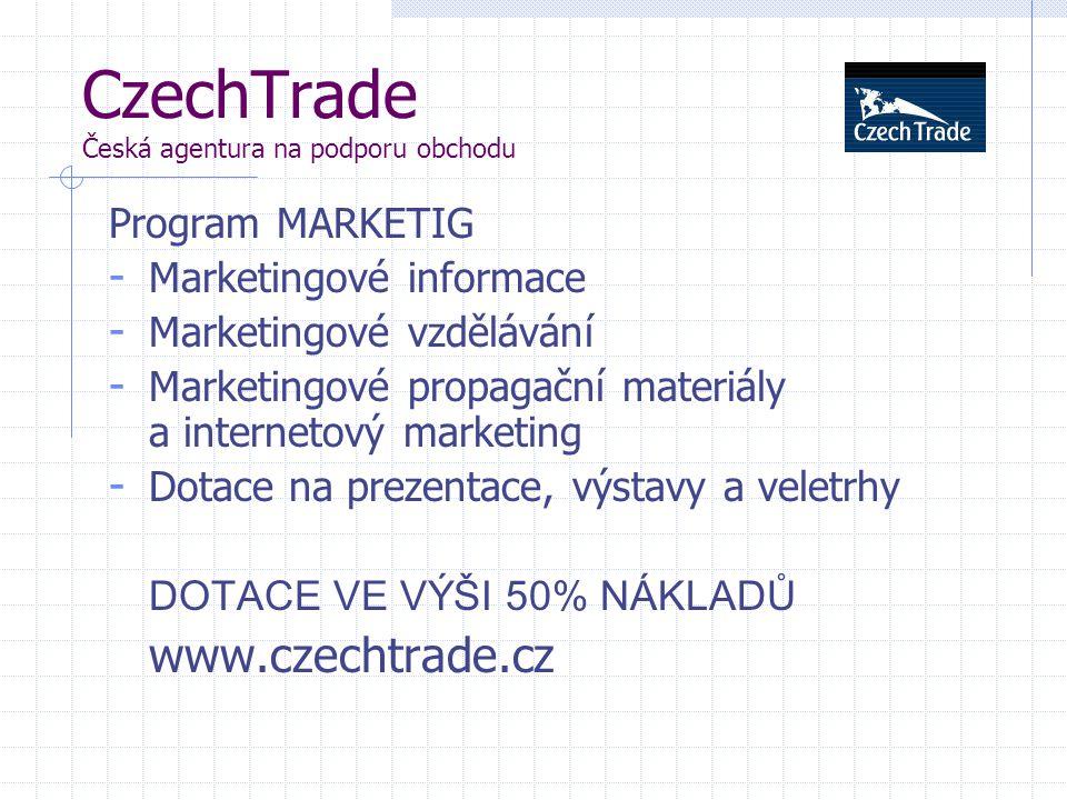 CzechTrade Česká agentura na podporu obchodu Program MARKETIG - Marketingové informace - Marketingové vzdělávání - Marketingové propagační materiály a