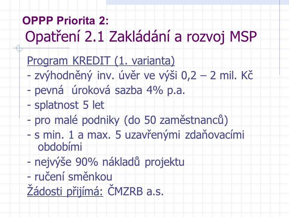 OPPP Priorita 2: Opatření 2.1 Zakládání a rozvoj MSP Program KREDIT (1. varianta) - zvýhodněný inv. úvěr ve výši 0,2 – 2 mil. Kč - pevná úroková sazba