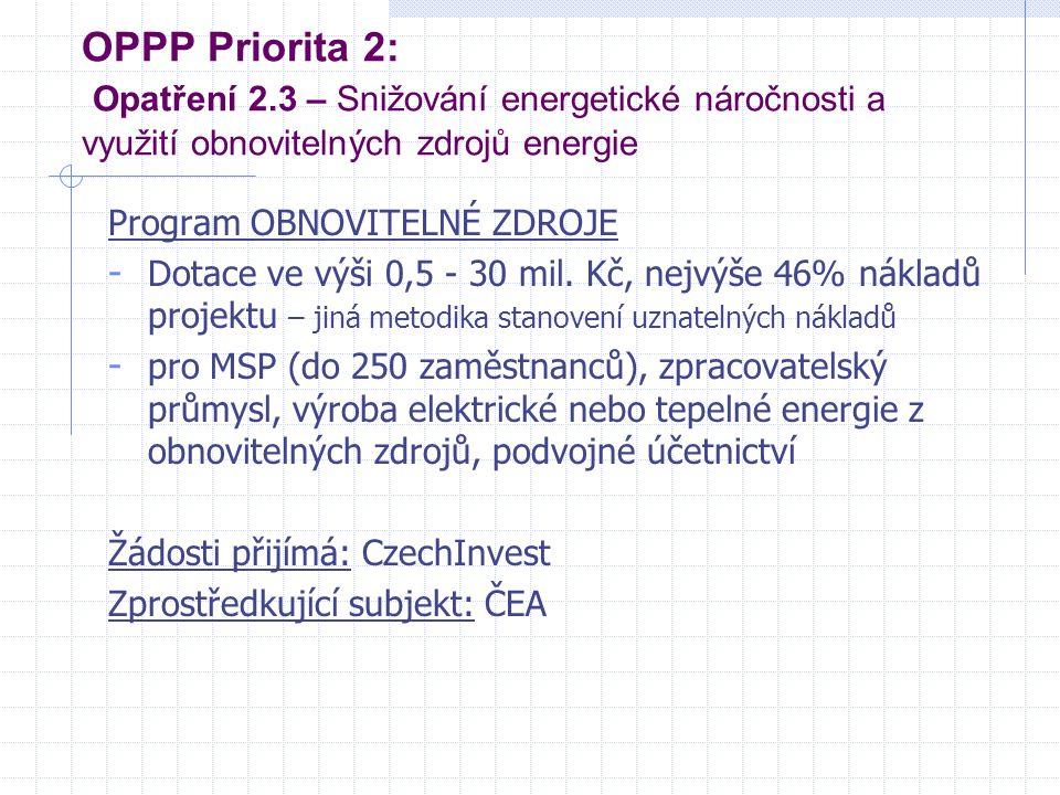 OPPP Priorita 2: Opatření 2.3 – Snižování energetické náročnosti a využití obnovitelných zdrojů energie Program OBNOVITELNÉ ZDROJE - Dotace ve výši 0,
