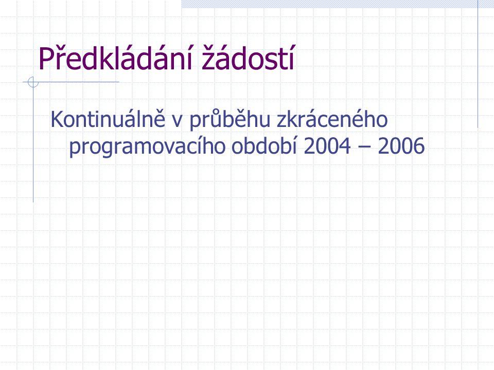 Předkládání žádostí Kontinuálně v průběhu zkráceného programovacího období 2004 – 2006