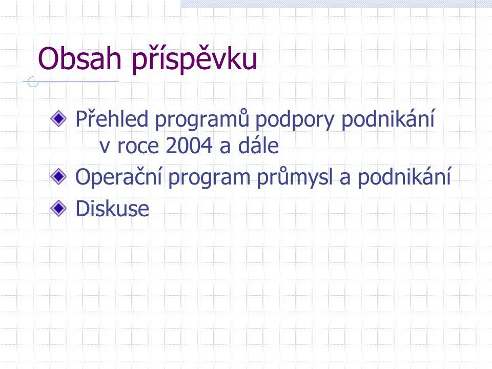 Obsah příspěvku Přehled programů podpory podnikání v roce 2004 a dále Operační program průmysl a podnikání Diskuse