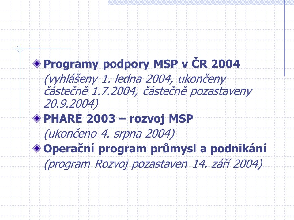 Programy podpory MSP v ČR 2004 (vyhlášeny 1. ledna 2004, ukončeny částečně 1.7.2004, částečně pozastaveny 20.9.2004) PHARE 2003 – rozvoj MSP (ukončeno