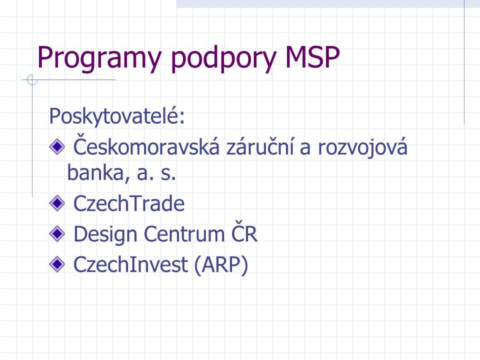 Programy podpory MSP Poskytovatelé: Českomoravská záruční a rozvojová banka, a. s. CzechTrade Design Centrum ČR CzechInvest (ARP)