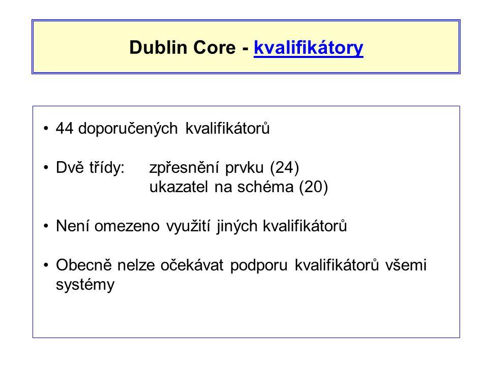 Dublin Core - kvalifikátorykvalifikátory •44 doporučených kvalifikátorů •Dvě třídy:zpřesnění prvku (24) ukazatel na schéma (20) •Není omezeno využití jiných kvalifikátorů •Obecně nelze očekávat podporu kvalifikátorů všemi systémy
