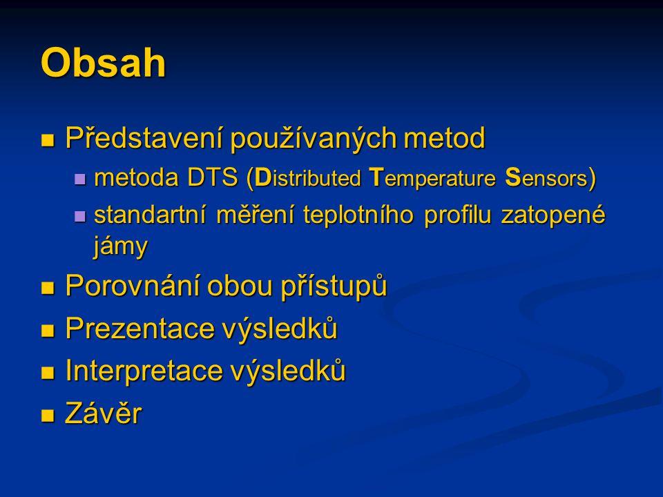 Metoda DTS D istrubuted T emperature S ensors Metoda rozloženého snímání teplot (DTS)  založena na stanovení intenzity odrazu a rozptylu laserového paprsku v optickém vláknu  intenzita závislá na teplotě a napětí vlákna  určení teploty prováděno analýzou navrácených laserových pulsů  v rámci jednotlivých impulsů jsou sledovány ztráty a fázové posuny vracejícího se světla