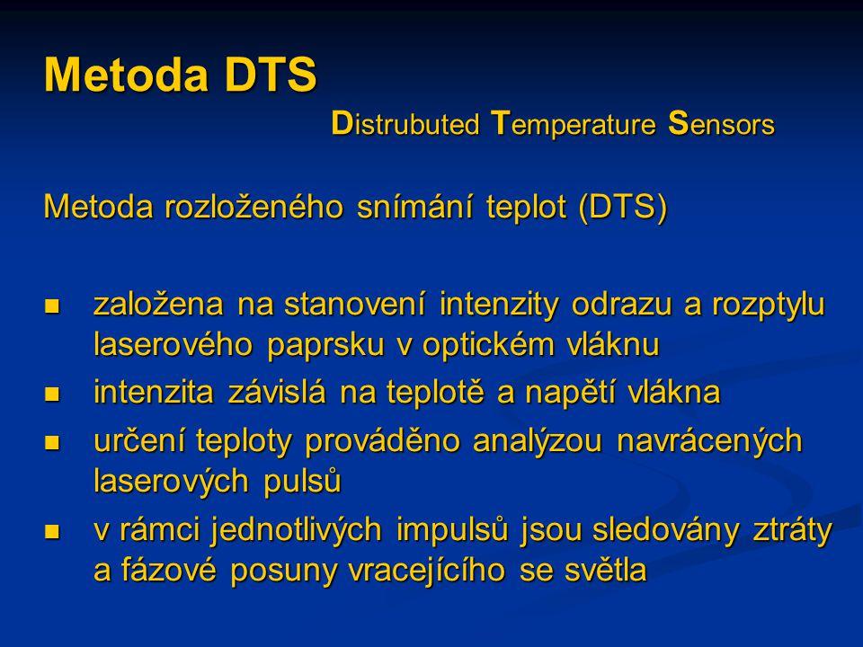 Metoda DTS D istrubuted T emperature S ensors Metoda rozloženého snímání teplot (DTS)  založena na stanovení intenzity odrazu a rozptylu laserového p