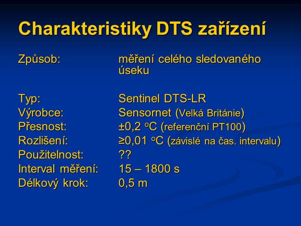 Charakteristiky DTS zařízení Způsob:měření celého sledovaného úseku Typ: Sentinel DTS-LR Výrobce:Sensornet ( Velká Británie ) Přesnost:±0,2 o C ( refe