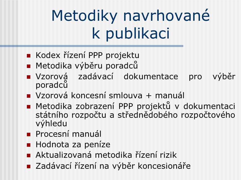 Metodiky navrhované k publikaci  Kodex řízení PPP projektu  Metodika výběru poradců  Vzorová zadávací dokumentace pro výběr poradců  Vzorová koncesní smlouva + manuál  Metodika zobrazení PPP projektů v dokumentaci státního rozpočtu a střednědobého rozpočtového výhledu  Procesní manuál  Hodnota za peníze  Aktualizovaná metodika řízení rizik  Zadávací řízení na výběr koncesionáře