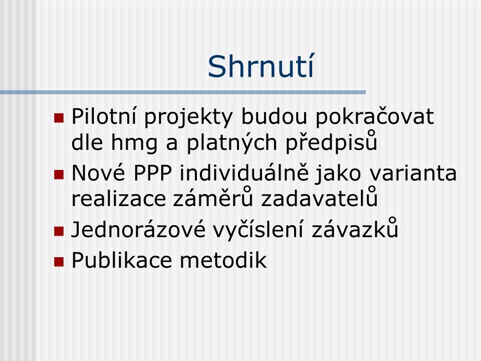 Shrnutí  Pilotní projekty budou pokračovat dle hmg a platných předpisů  Nové PPP individuálně jako varianta realizace záměrů zadavatelů  Jednorázové vyčíslení závazků  Publikace metodik