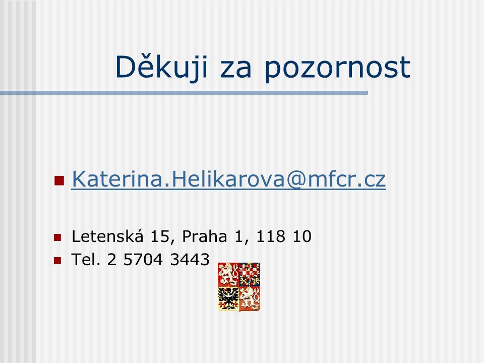 Děkuji za pozornost  Katerina.Helikarova@mfcr.cz Katerina.Helikarova@mfcr.cz  Letenská 15, Praha 1, 118 10  Tel.