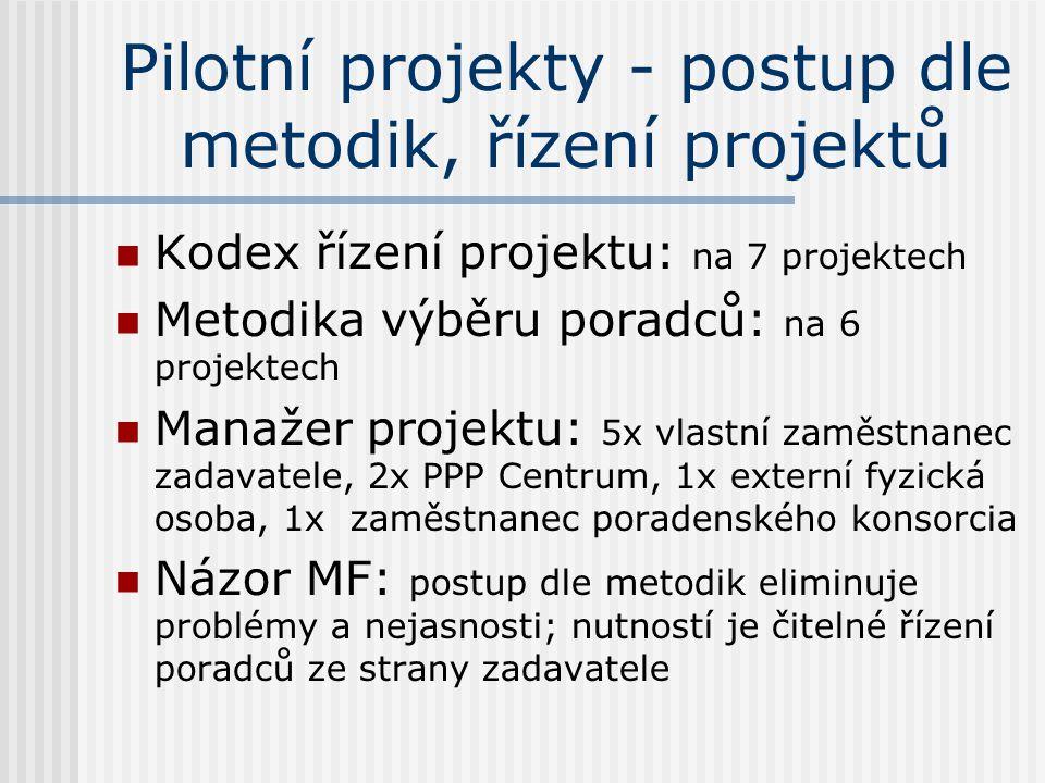Pilotní projekty - postup dle metodik, řízení projektů  Kodex řízení projektu: na 7 projektech  Metodika výběru poradců: na 6 projektech  Manažer projektu: 5x vlastní zaměstnanec zadavatele, 2x PPP Centrum, 1x externí fyzická osoba, 1x zaměstnanec poradenského konsorcia  Názor MF: postup dle metodik eliminuje problémy a nejasnosti; nutností je čitelné řízení poradců ze strany zadavatele