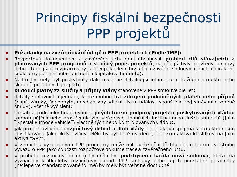 Principy fiskální bezpečnosti PPP projektů  Požadavky na zveřejňování údajů o PPP projektech (Podle IMF):  Rozpočtová dokumentace a závěrečné účty mají obsahovat přehled cílů stávajících a plánovaných PPP programů a stručný popis projektů, na něž již byly uzavřeny smlouvy nebo které jsou rozpracovány s předpokladem brzkého uzavření smlouvy (jejich charakter, soukromý partner nebo partneři a kapitálová hodnota).