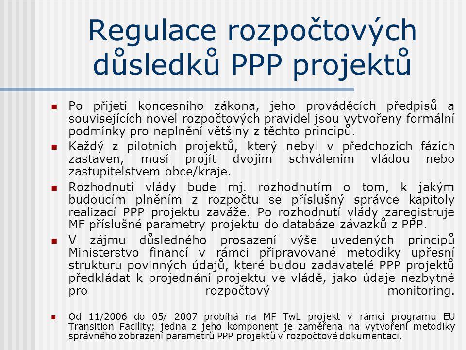 Regulace rozpočtových důsledků PPP projektů  Po přijetí koncesního zákona, jeho prováděcích předpisů a souvisejících novel rozpočtových pravidel jsou vytvořeny formální podmínky pro naplnění většiny z těchto principů.