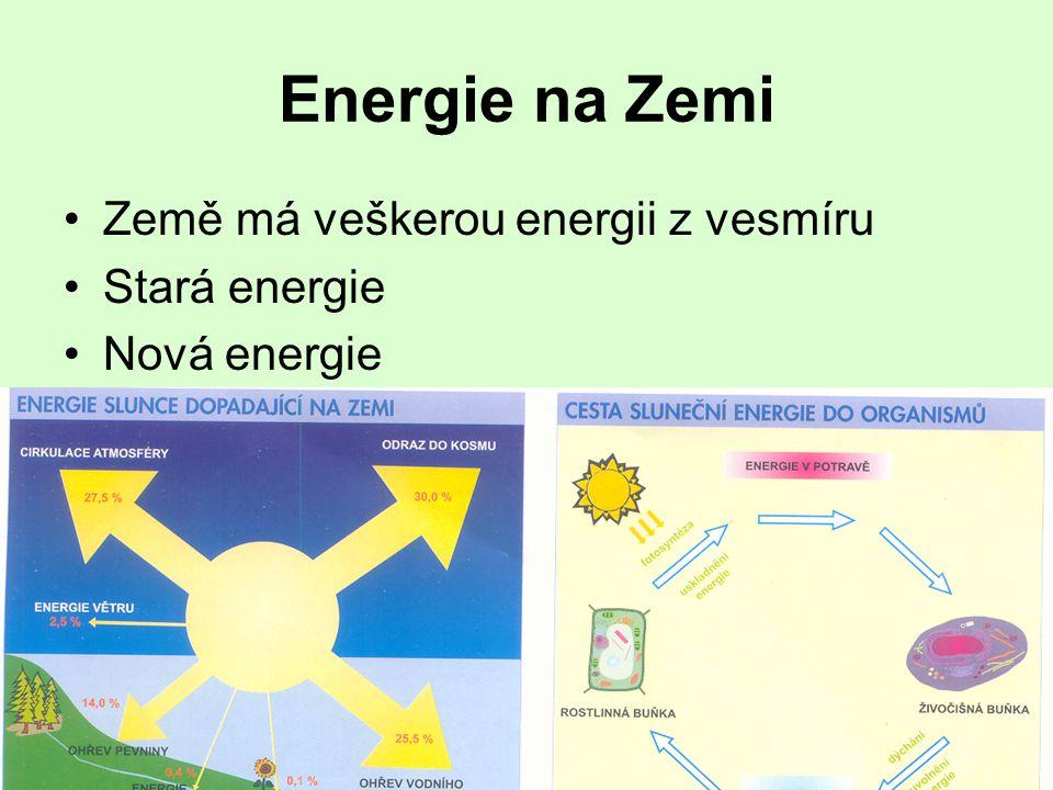 Energie na Zemi •Země má veškerou energii z vesmíru •Stará energie •Nová energie