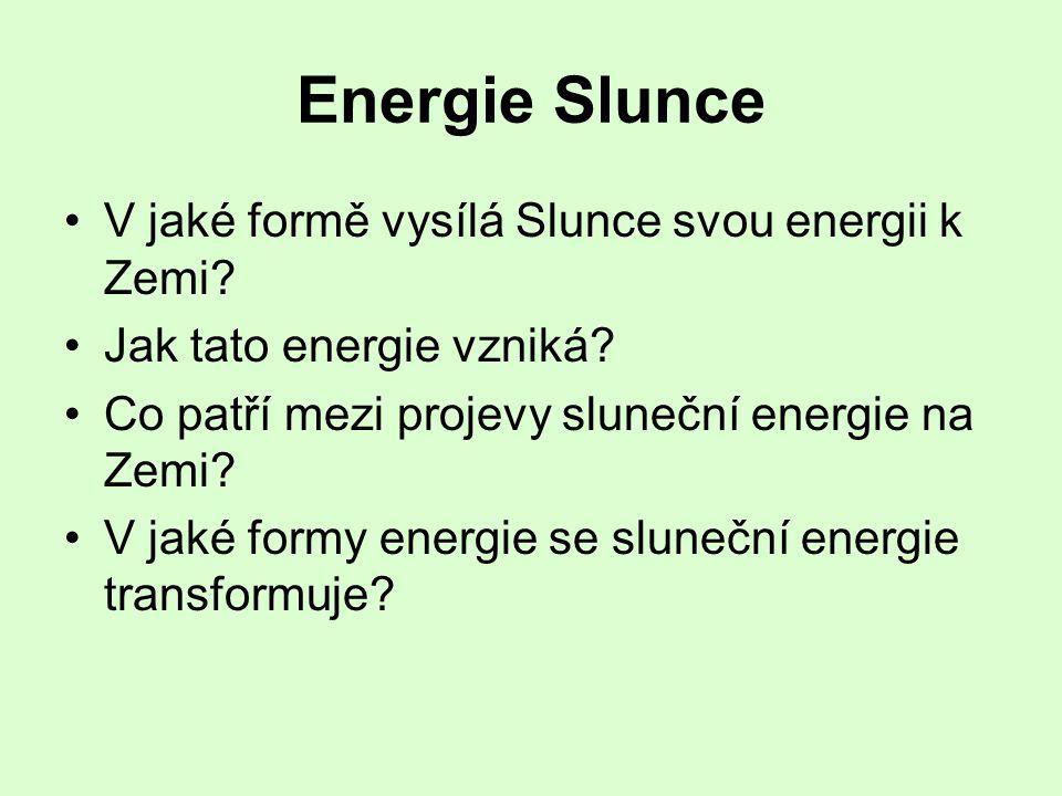 Energie Slunce •Světelnou a tepelnou •Jadernými přeměnami vodíku – trvale obnovitelný zdroj •Energie fosilních paliv, eolická energie, energie biomasy, vodní energie, teplo vlastní nepřeměněné energie •Energie chemických vazeb