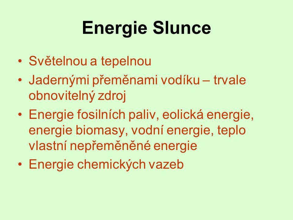 Energie Slunce •Světelnou a tepelnou •Jadernými přeměnami vodíku – trvale obnovitelný zdroj •Energie fosilních paliv, eolická energie, energie biomasy