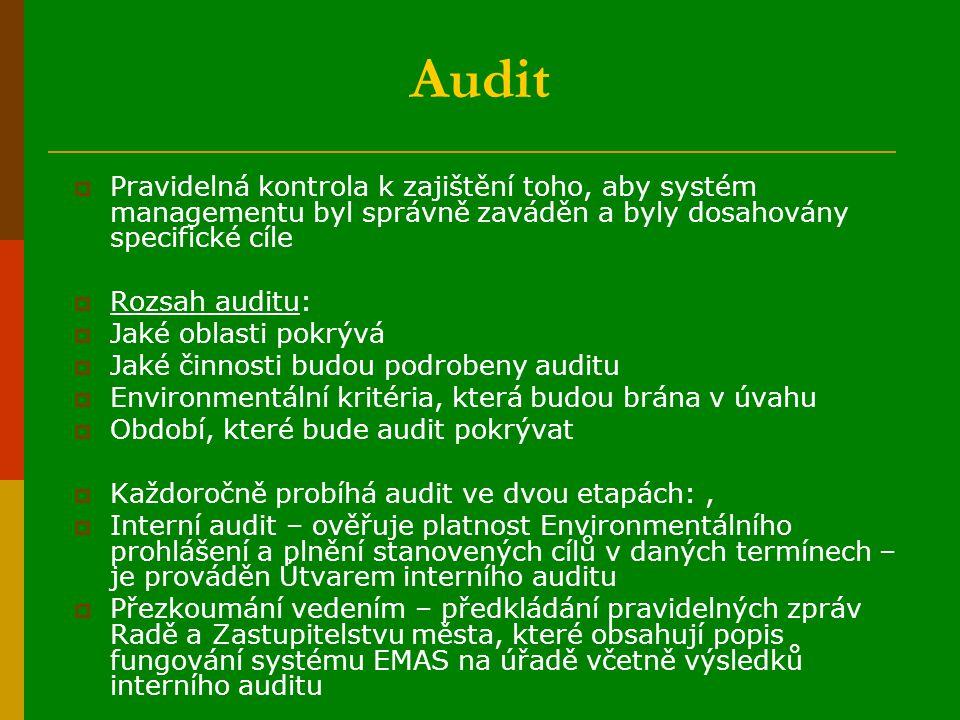 Audit  Pravidelná kontrola k zajištění toho, aby systém managementu byl správně zaváděn a byly dosahovány specifické cíle  Rozsah auditu:  Jaké oblasti pokrývá  Jaké činnosti budou podrobeny auditu  Environmentální kritéria, která budou brána v úvahu  Období, které bude audit pokrývat  Každoročně probíhá audit ve dvou etapách:,  Interní audit – ověřuje platnost Environmentálního prohlášení a plnění stanovených cílů v daných termínech – je prováděn Útvarem interního auditu  Přezkoumání vedením – předkládání pravidelných zpráv Radě a Zastupitelstvu města, které obsahují popis fungování systému EMAS na úřadě včetně výsledků interního auditu