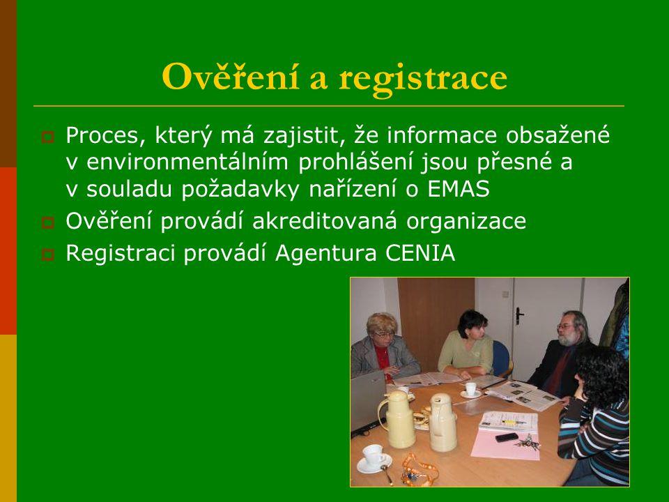 Ověření a registrace  Proces, který má zajistit, že informace obsažené v environmentálním prohlášení jsou přesné a v souladu požadavky nařízení o EMAS  Ověření provádí akreditovaná organizace  Registraci provádí Agentura CENIA