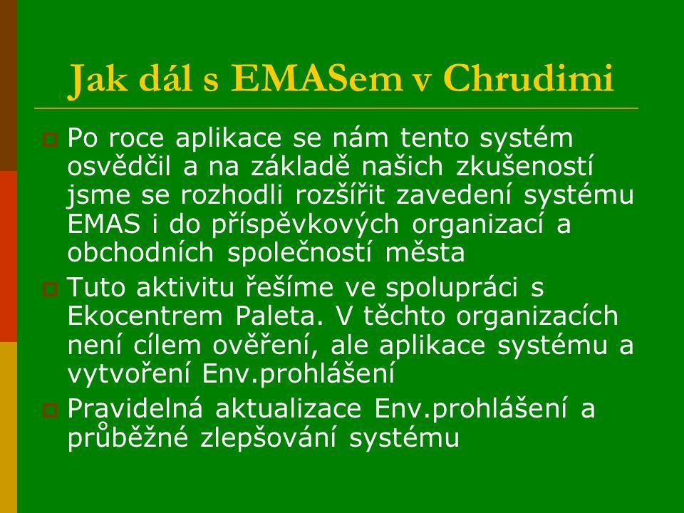 Jak dál s EMASem v Chrudimi  Po roce aplikace se nám tento systém osvědčil a na základě našich zkušeností jsme se rozhodli rozšířit zavedení systému EMAS i do příspěvkových organizací a obchodních společností města  Tuto aktivitu řešíme ve spolupráci s Ekocentrem Paleta.