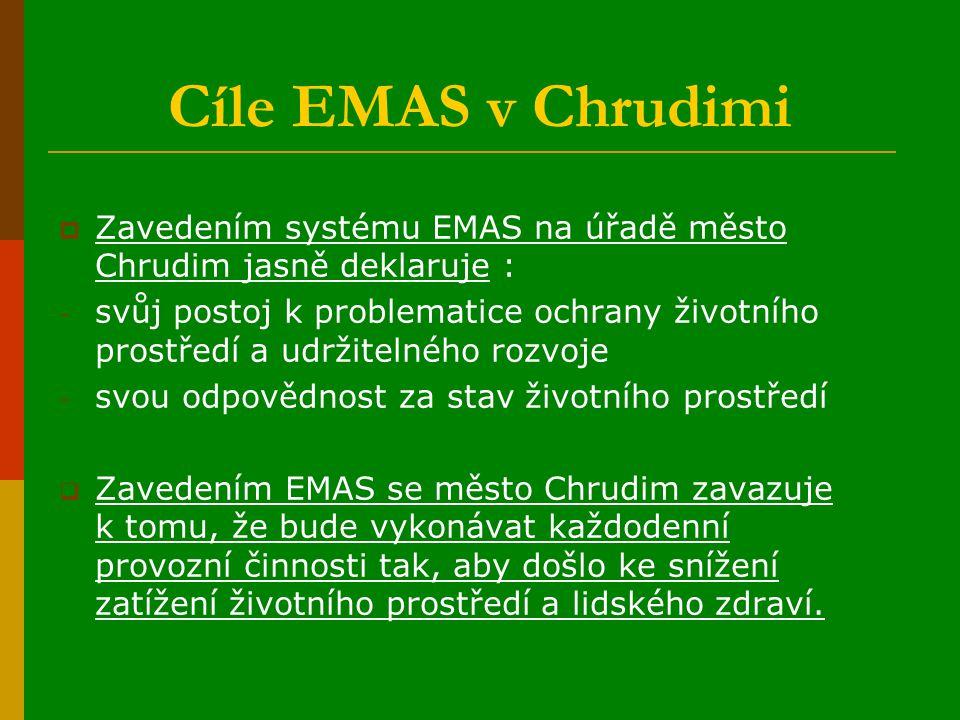 Cíle EMAS v Chrudimi  Zavedením systému EMAS na úřadě město Chrudim jasně deklaruje : - svůj postoj k problematice ochrany životního prostředí a udržitelného rozvoje - svou odpovědnost za stav životního prostředí  Zavedením EMAS se město Chrudim zavazuje k tomu, že bude vykonávat každodenní provozní činnosti tak, aby došlo ke snížení zatížení životního prostředí a lidského zdraví.