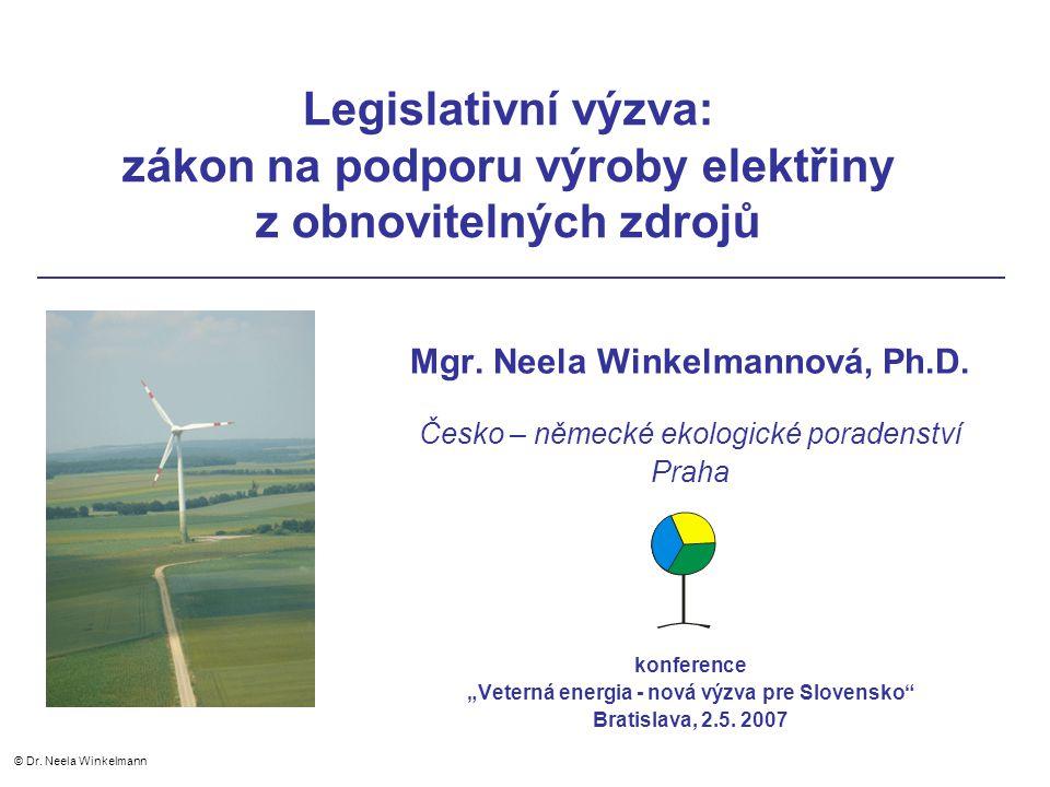 Instalovaný výkon větrné energetiky v České republice Zdroj: údaje ČSVE © Dr. Neela Winkelmann