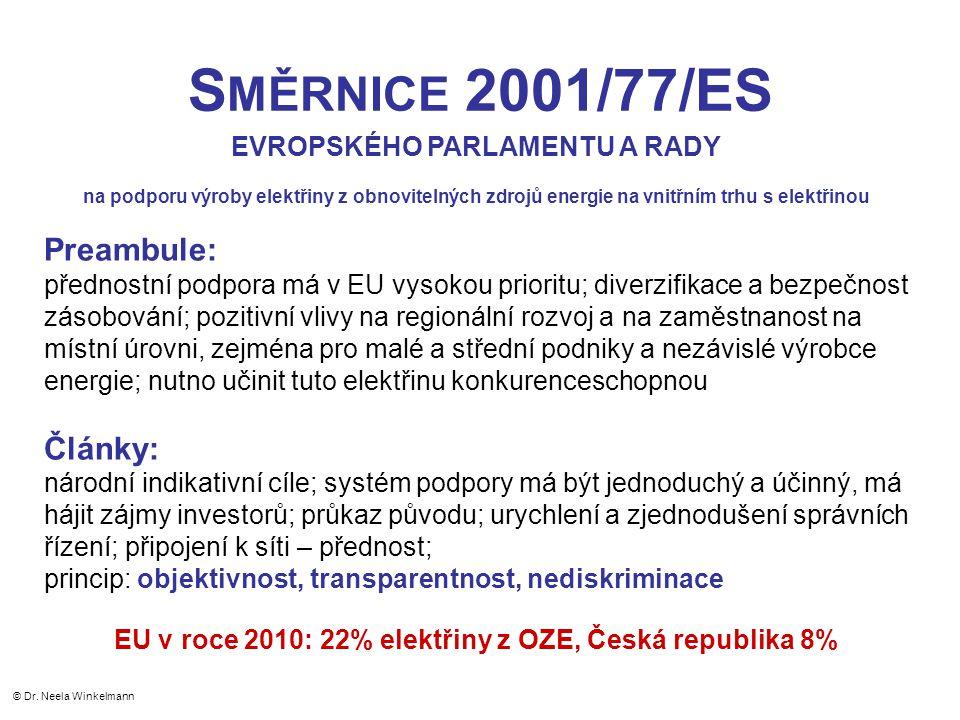 S MĚRNICE 2001/77/ES EVROPSKÉHO PARLAMENTU A RADY na podporu výroby elektřiny z obnovitelných zdrojů energie na vnitřním trhu s elektřinou Preambule: přednostní podpora má v EU vysokou prioritu; diverzifikace a bezpečnost zásobování; pozitivní vlivy na regionální rozvoj a na zaměstnanost na místní úrovni, zejména pro malé a střední podniky a nezávislé výrobce energie; nutno učinit tuto elektřinu konkurenceschopnou Články: národní indikativní cíle; systém podpory má být jednoduchý a účinný, má hájit zájmy investorů; průkaz původu; urychlení a zjednodušení správních řízení; připojení k síti – přednost; princip: objektivnost, transparentnost, nediskriminace EU v roce 2010: 22% elektřiny z OZE, Česká republika 8% © Dr.