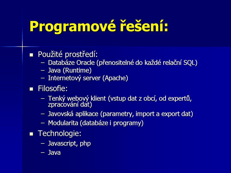 Programové řešení:  Použité prostředí: –Databáze Oracle (přenositelné do každé relační SQL) –Java (Runtime) –Internetový server (Apache)  Filosofie: –Tenký webový klient (vstup dat z obcí, od expertů, zpracování dat) –Javovská aplikace (parametry, import a export dat) –Modularita (databáze i programy)  Technologie: –Javascript, php –Java