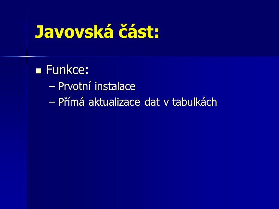 Javovská část:  Funkce: –Prvotní instalace –Přímá aktualizace dat v tabulkách