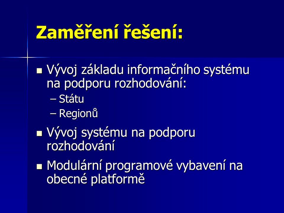 Zaměření řešení:  Vývoj základu informačního systému na podporu rozhodování: –Státu –Regionů  Vývoj systému na podporu rozhodování  Modulární programové vybavení na obecné platformě
