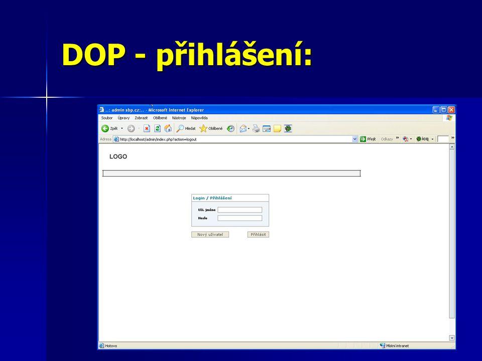 DOP - přihlášení:
