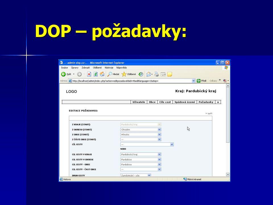 DOP – požadavky:
