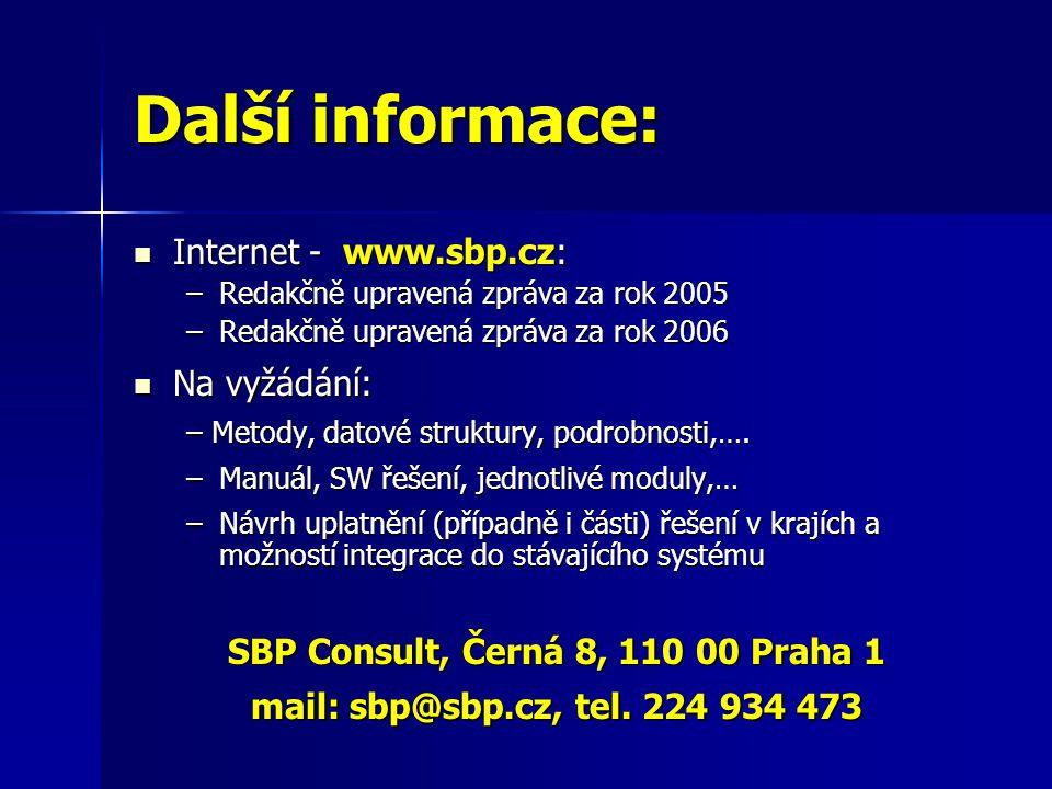 Další informace:  Internet - www.sbp.cz: –Redakčně upravená zpráva za rok 2005 –Redakčně upravená zpráva za rok 2006  Na vyžádání: – Metody, datové struktury, podrobnosti,….