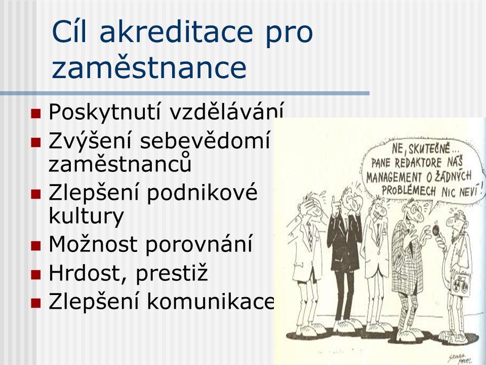 Cíl akreditace pro zaměstnance  Poskytnutí vzdělávání  Zvýšení sebevědomí zaměstnanců  Zlepšení podnikové kultury  Možnost porovnání  Hrdost, prestiž  Zlepšení komunikace