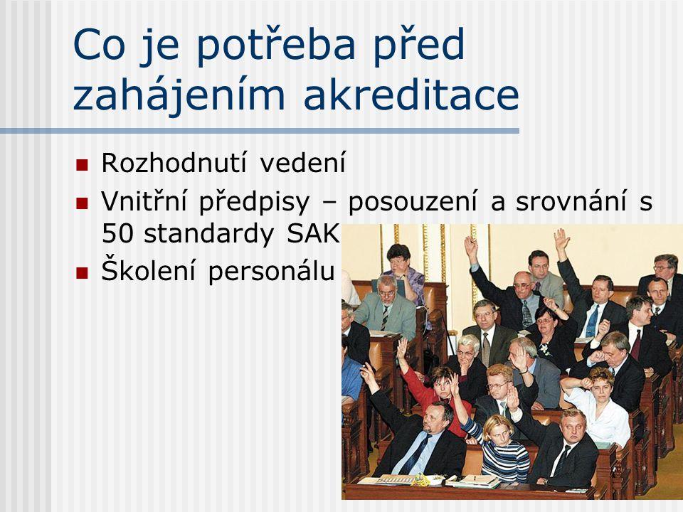 Co je potřeba před zahájením akreditace  Rozhodnutí vedení  Vnitřní předpisy – posouzení a srovnání s 50 standardy SAK  Školení personálu