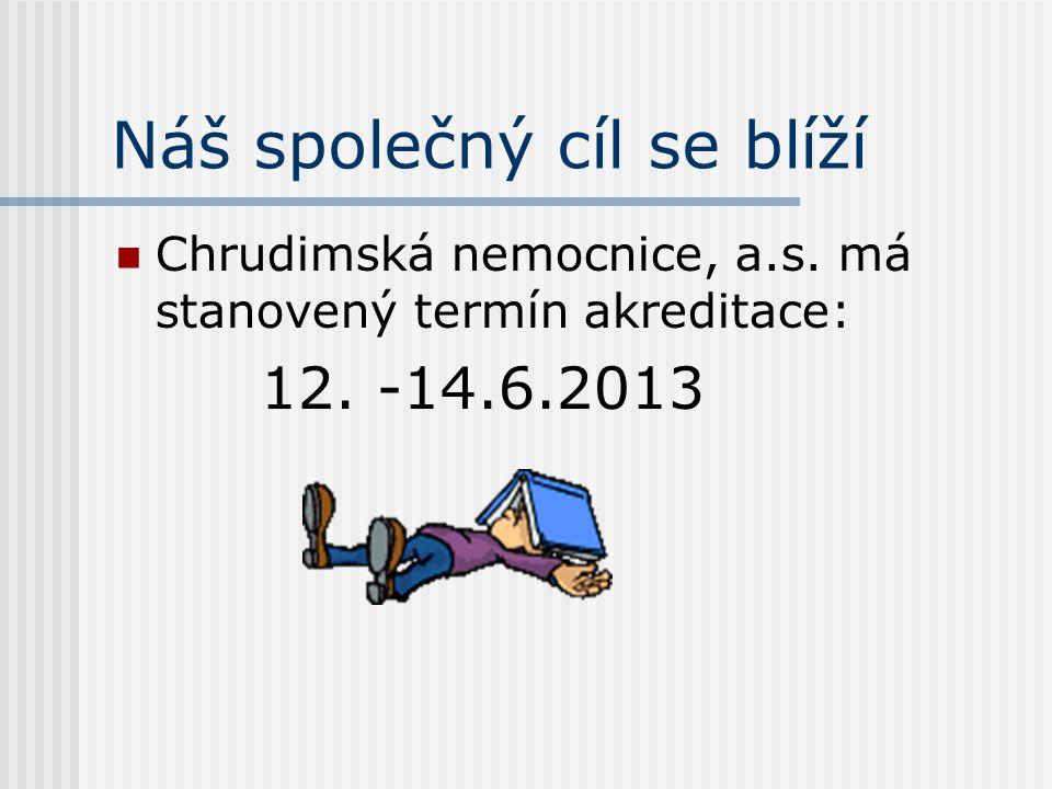 Náš společný cíl se blíží  Chrudimská nemocnice, a.s. má stanovený termín akreditace: 12. -14.6.2013