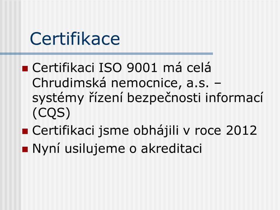 Certifikace  Certifikaci ISO 9001 má celá Chrudimská nemocnice, a.s. – systémy řízení bezpečnosti informací (CQS)  Certifikaci jsme obhájili v roce