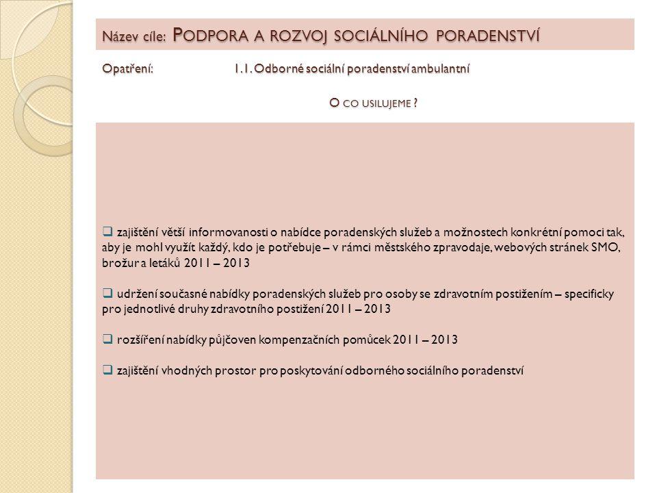 Název cíle: P ODPORA A ROZVOJ SOCIÁLNÍHO PORADENSTVÍ Opatření: 1.1. Odborné sociální poradenství ambulantní  zajištění větší informovanosti o nabídce