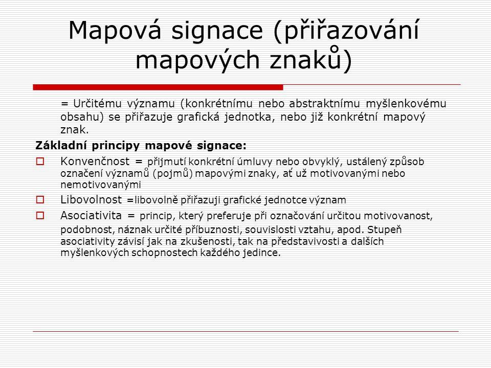 Mapová signace (přiřazování mapových znaků) = Určitému významu (konkrétnímu nebo abstraktnímu myšlenkovému obsahu) se přiřazuje grafická jednotka, neb