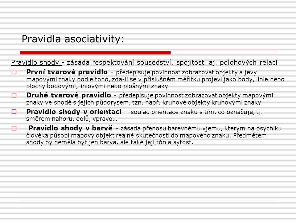 Pravidla asociativity: Pravidlo shody - zásada respektování sousedství, spojitosti aj. polohových relací  První tvarové pravidlo - předepisuje povinn