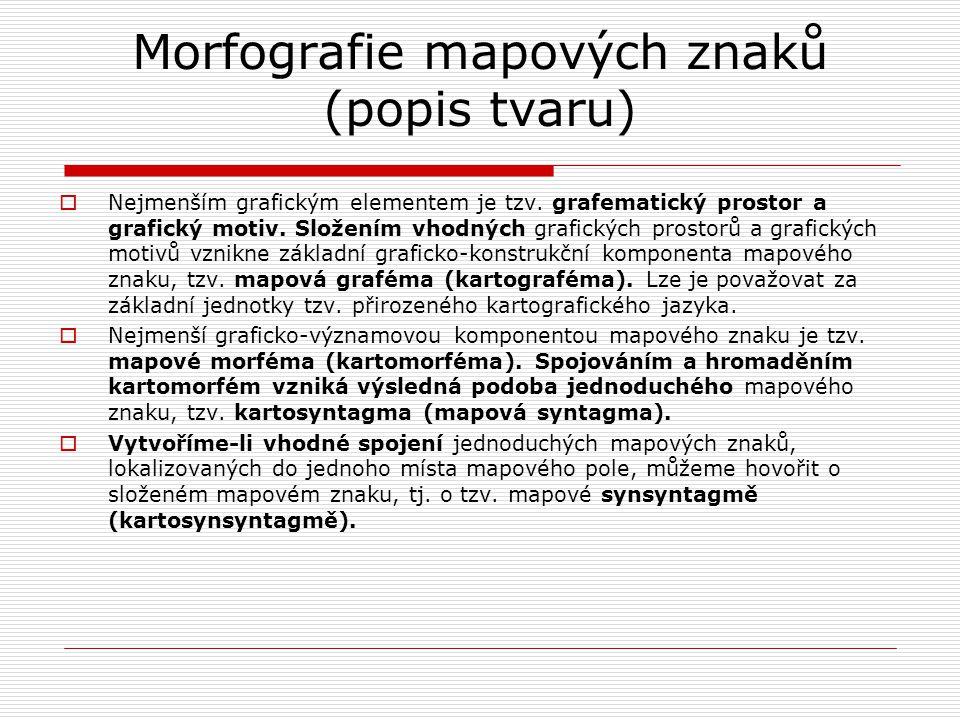Morfografie mapových znaků (popis tvaru)  Nejmenším grafickým elementem je tzv. grafematický prostor a grafický motiv. Složením vhodných grafických p