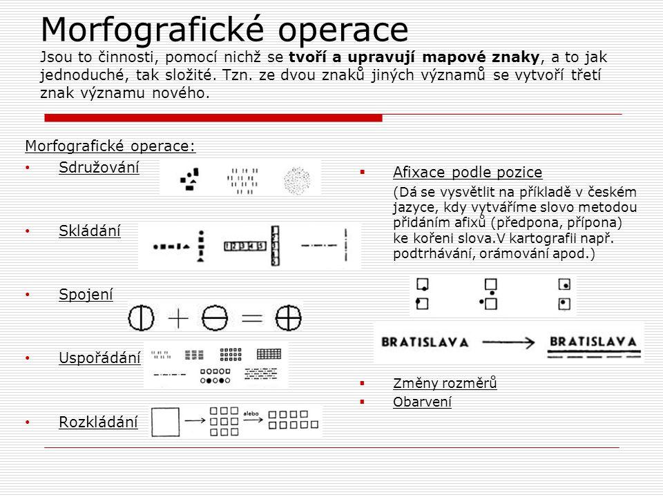 Morfografické operace Jsou to činnosti, pomocí nichž se tvoří a upravují mapové znaky, a to jak jednoduché, tak složité. Tzn. ze dvou znaků jiných výz