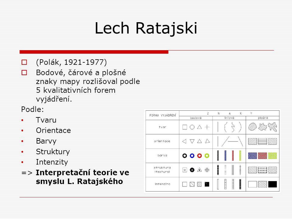 Lech Ratajski  (Polák, 1921-1977)  Bodové, čárové a plošné znaky mapy rozlišoval podle 5 kvalitativních forem vyjádření. Podle: • Tvaru • Orientace