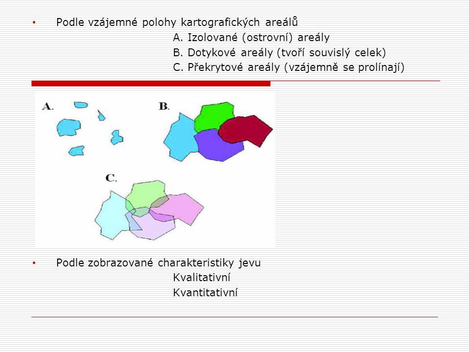 • Podle vzájemné polohy kartografických areálů A. Izolované (ostrovní) areály B. Dotykové areály (tvoří souvislý celek) C. Překrytové areály (vzájemně