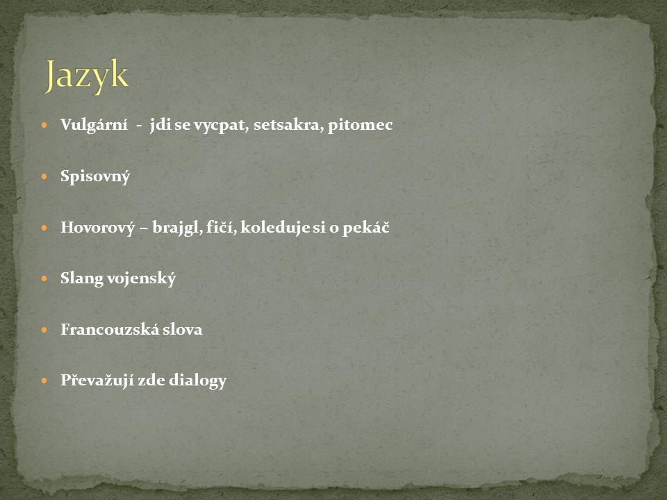  Vulgární - jdi se vycpat, setsakra, pitomec  Spisovný  Hovorový – brajgl, fičí, koleduje si o pekáč  Slang vojenský  Francouzská slova  Převažují zde dialogy