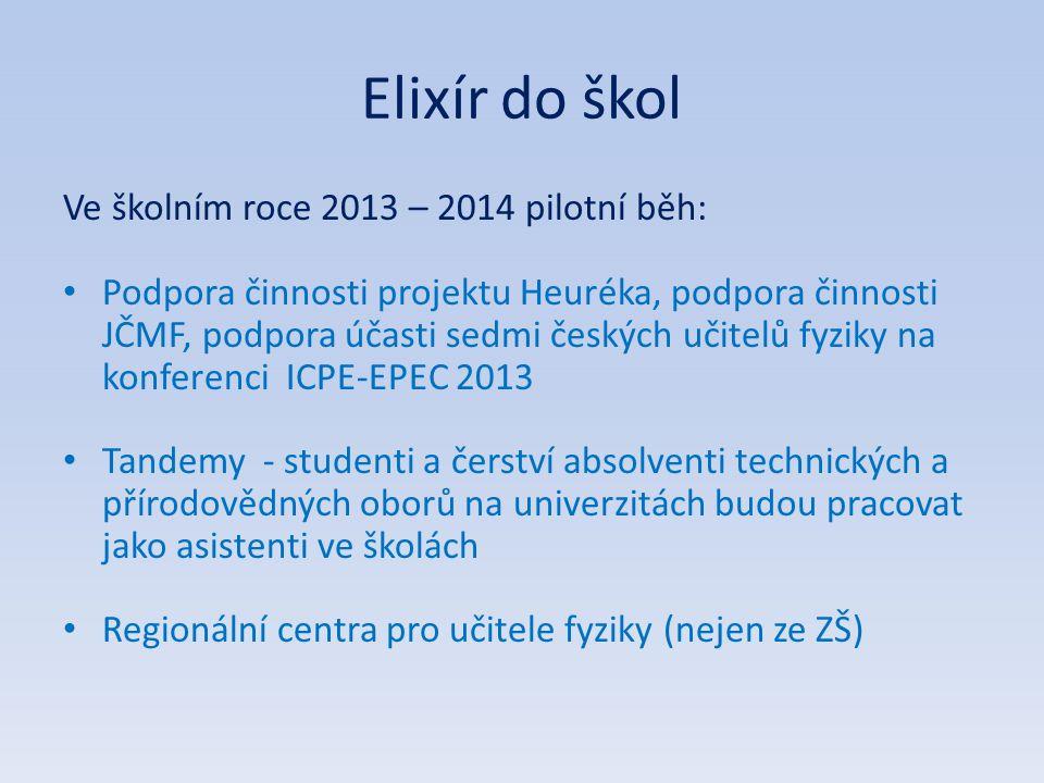 Elixír do škol Ve školním roce 2013 – 2014 pilotní běh: • Podpora činnosti projektu Heuréka, podpora činnosti JČMF, podpora účasti sedmi českých učite